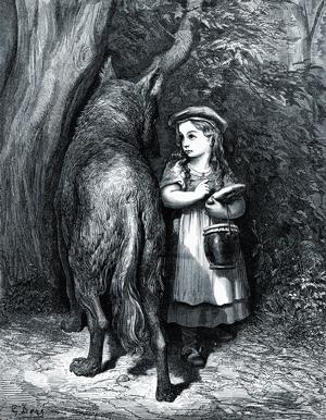 Roodkapje verleidt de wolf, door Gustave Doré