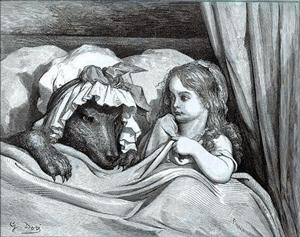 Roodkapje kruipt in bed bij de wolf, door Gustave Doré